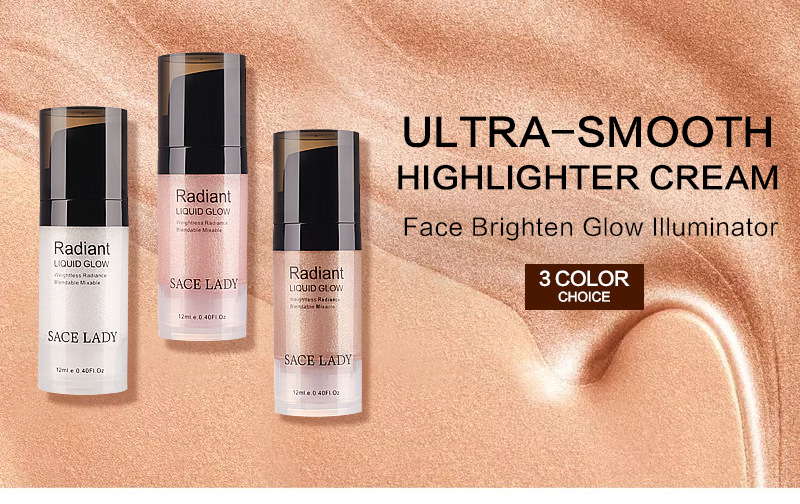 SACE LADY 1pc Face/Eye Highlighter Cream Liquid Illuminator Makeup Shimmer Glow Kit Makeup Facial Brighten Shine Brand Cosmetic