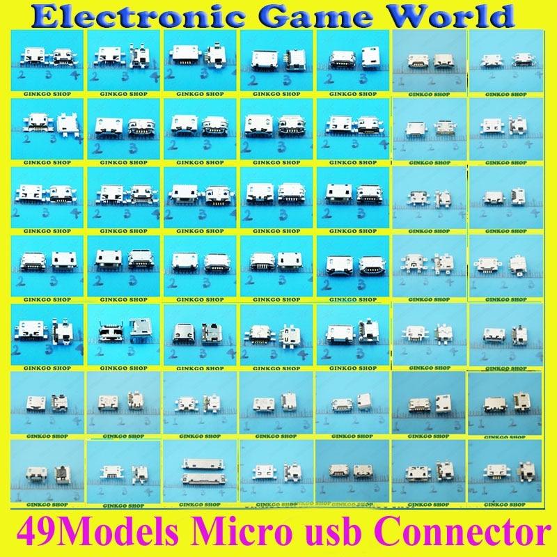 49 Modelli 490 pz totale Micro USB Pin Jack Coda Connettore Micro Usb v8 Caricatore Presa di Ricarica per Samsung Lenovo Huawei ZTE HTC ect