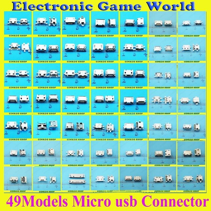 49 modelos 490 piezas total Micro USB 5Pin Jack cola Conector Micro Usb v8 de carga del puerto de carga hembra para Samsung Lenovo huawei ZTE HTC ect