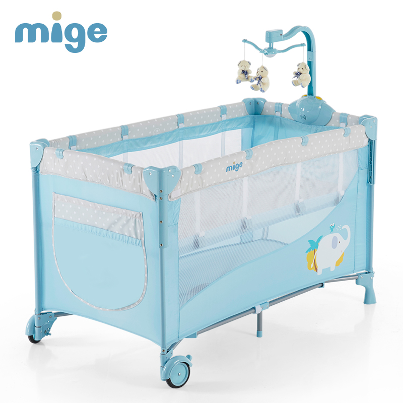 2019 New Multi-function  Newborn Baby Crib Easy Fold Portable Game Bed Ifant Playground With Roll Wheel 0-6Y