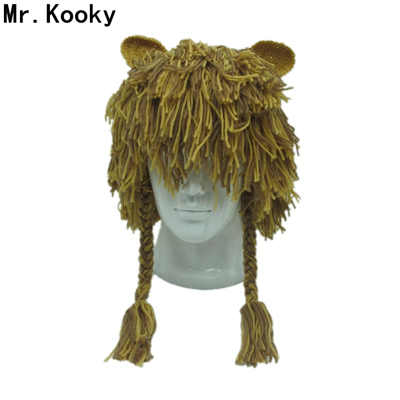 Mr.Kooky Adult Handmade Warm Durable Crazy Lion Wig Winter Hat Unique Gift Ideas Cap Men Women Party Halloween Christmas   Beanies
