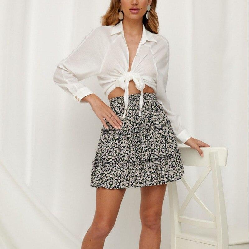 Bohemian Floral Print A-Line Skirt Summer Beach Ruffle Skirt