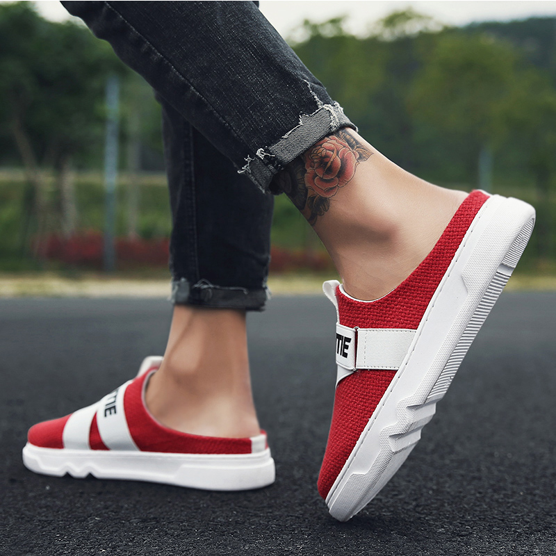 2018 New Arrival Canvas Shoes Loafers Men Sandals Men Fashion Summer Breathable Flats Slipper Cool Comfortable Slides Flip Flops in Slippers from Shoes