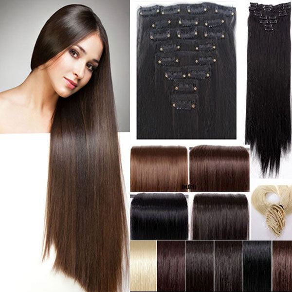 Maga Long 8Pcs Set 26 66CM Straight Full Head Clip In Hair Extensions Black Brown Blonde Red Blue Pink Purple Piece On Aliexpress