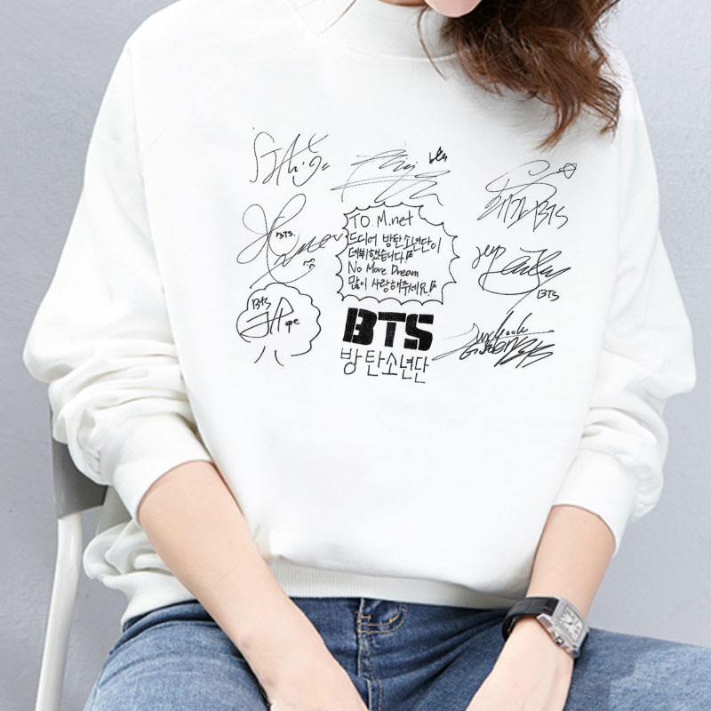 Korean Style Autumn And Winter BTS Love Yourself Tear All Members Signature Print Hoodies Fashion BT21 Sweatshirt Pullover Women