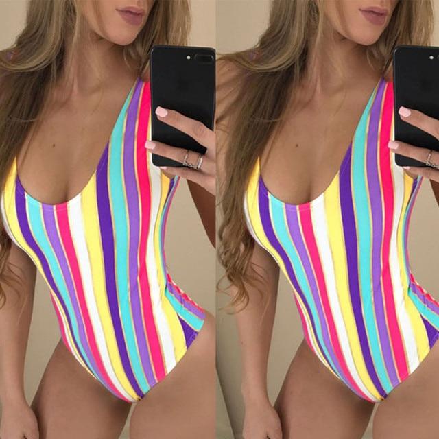 One Piece Swimsuit 2017 Musim Panas Berenang Pakai Rainbow Beach Wear Perban Monokini Swimsuit Sexy Swimwear Wanita Bodysuit Baju renang