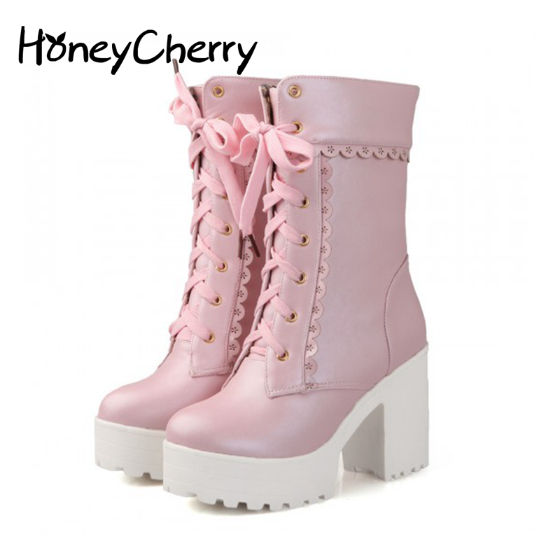 White Black Students Soft Sister Lolita High-heeled Boots Cosplay Lace Lolita Sweet Lady Shoes Women Ankle Platform Boots lolita pink white lace up high heel student shoes sweet lady cosplay platform chunky block mid calf short boots 43