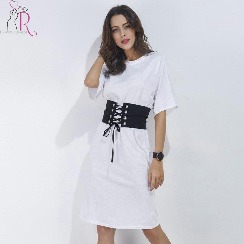 White Short Sleeve Corset Belt Casual T Shirt Dress 2017 Summer