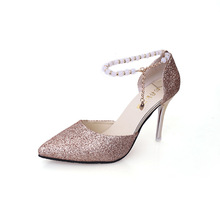 Women Pumps Thin High Heel Crystal Bling Pumps Pearl Decor Wedding Party Pumps Point Toe Gold Silver Black цена 2017