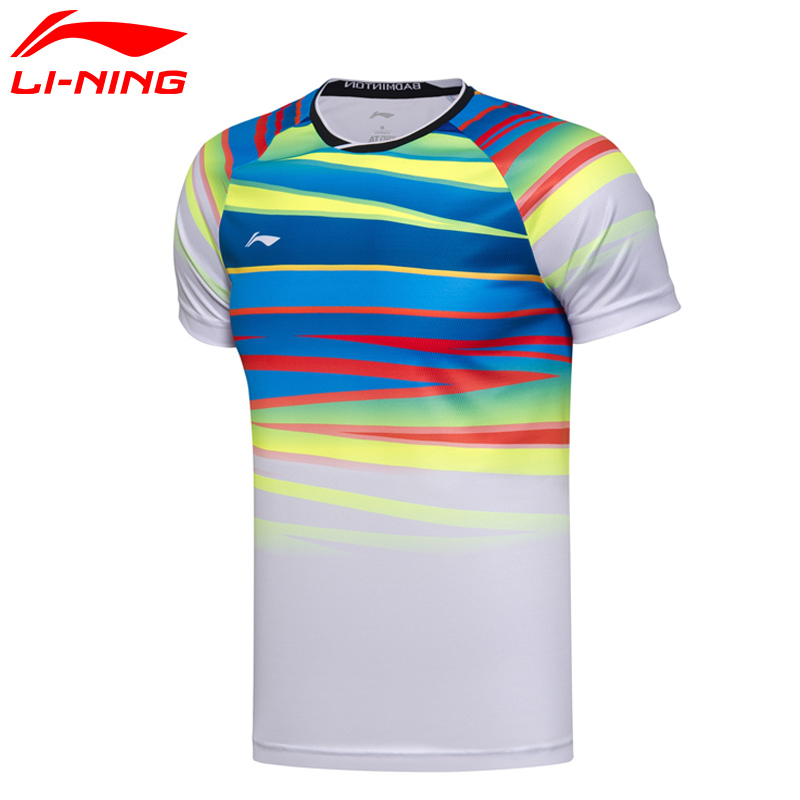 (Break Code)Li-Ning Men AT DRY Badminton Shirts Breathable T-Shirts Competition Comfort LiNing Li Ning Sport Tee AAYM075 MTS2673