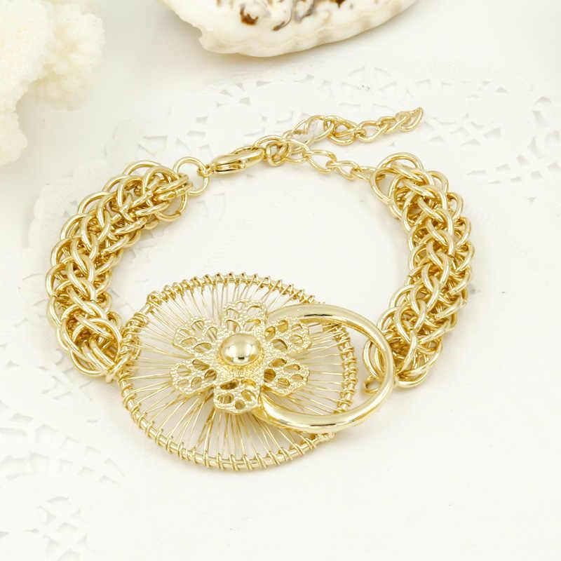 Liffly Africana regalo nupcial de la boda de oro de Dubai, juegos de joyería para las mujeres de la joyería de traje de Gran Collar pendientes pulsera conjunto