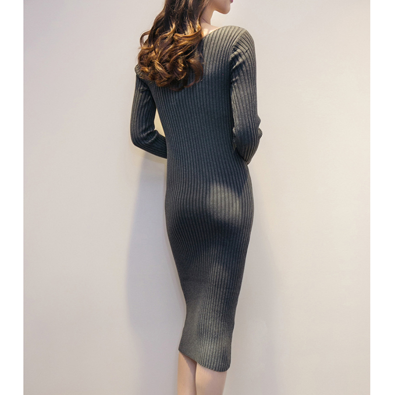 Rqueena New Arrival Double V Neck Bodycon Pencil Dress 2017 Fashion Autumn Winter Women Casual Long Knitted Sweater Dress Women