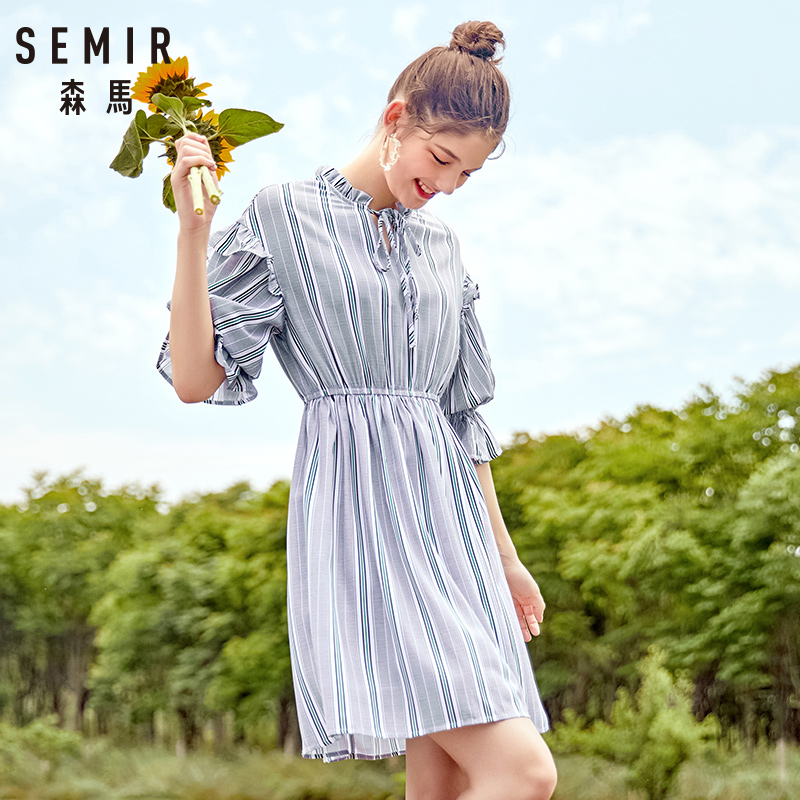 SEMIR women dress female 2018 autumn new retro striped dress loose thin dresses long flare sleeves clothing for woman 30