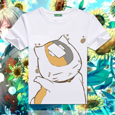 Harajuku Shirt Neko Atsume Anime Cartoon Japanese Kawaii Clothes Casual Female T-shirt Cat Tops  Tee Shirts CM014