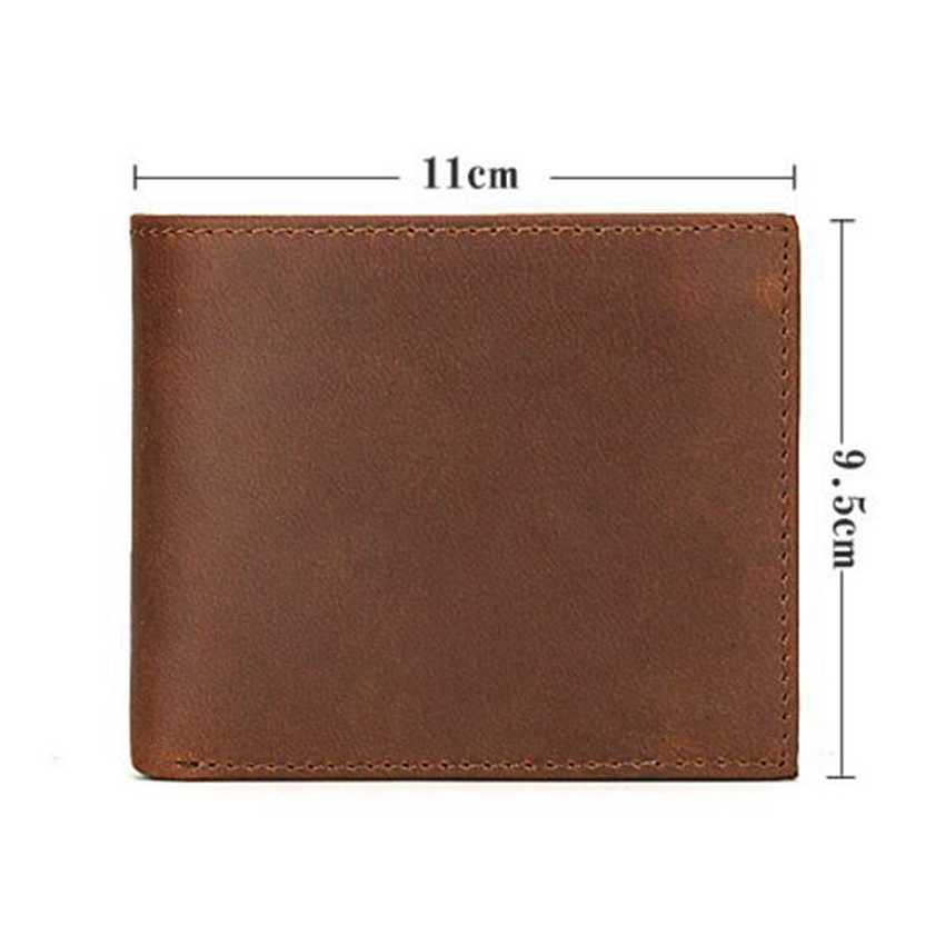 dd6c026bf99a New Crazy Horse Leather Wallet Men Short Money Purse RFID Protection Card  Engraved Name or Logo Genuine Leather Men Wallet Gifts