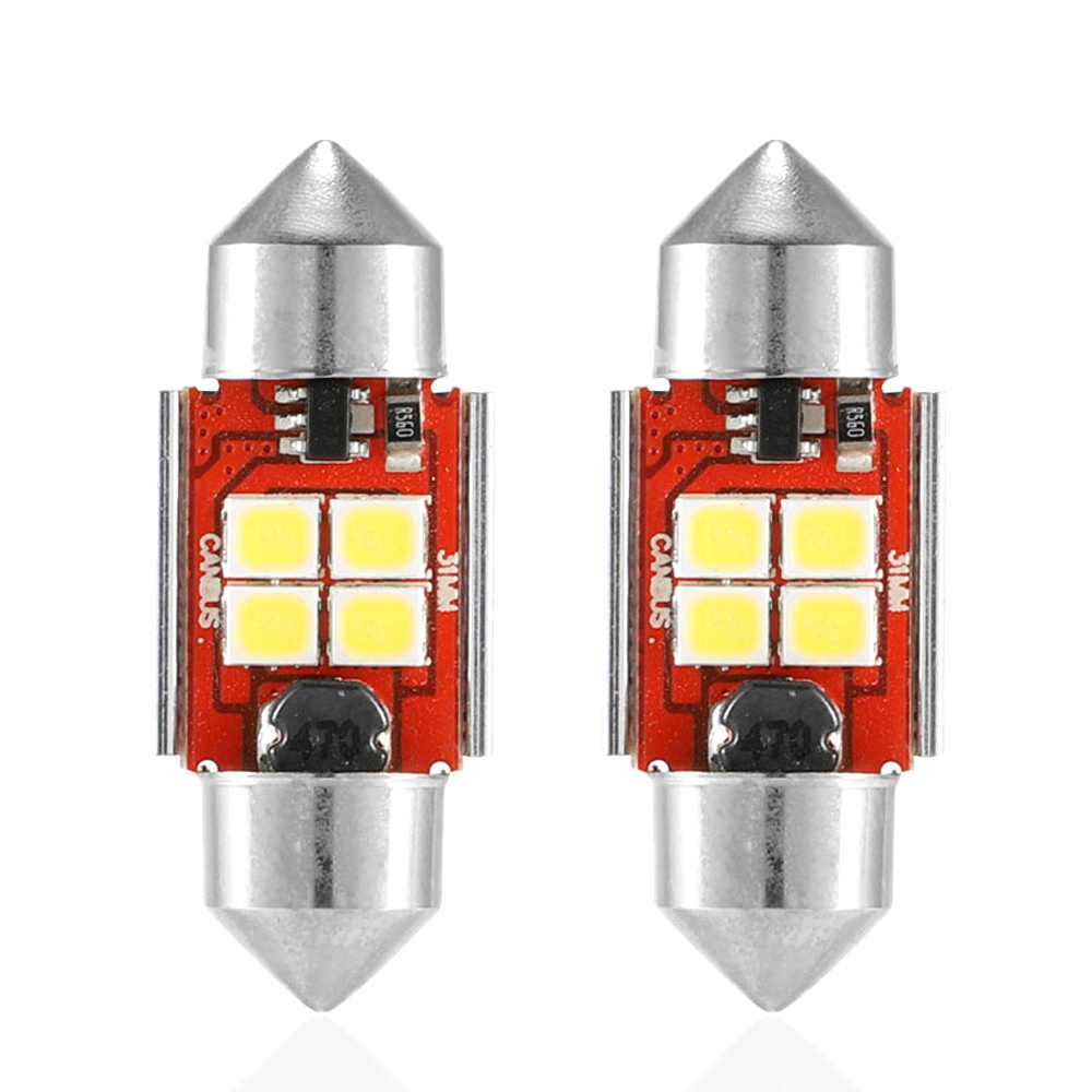 NOVSIGHT 2PCS LED Bulbs 31mm,36mm,39mm,41mm Double Pointed LED Bulbs For Turn Signal Lights Auto Lamp White Dome Light