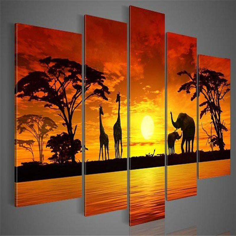 handmade 5 piece modern africa oil painting on canvas modular paintings elephant giraffe animal wall picture for living room
