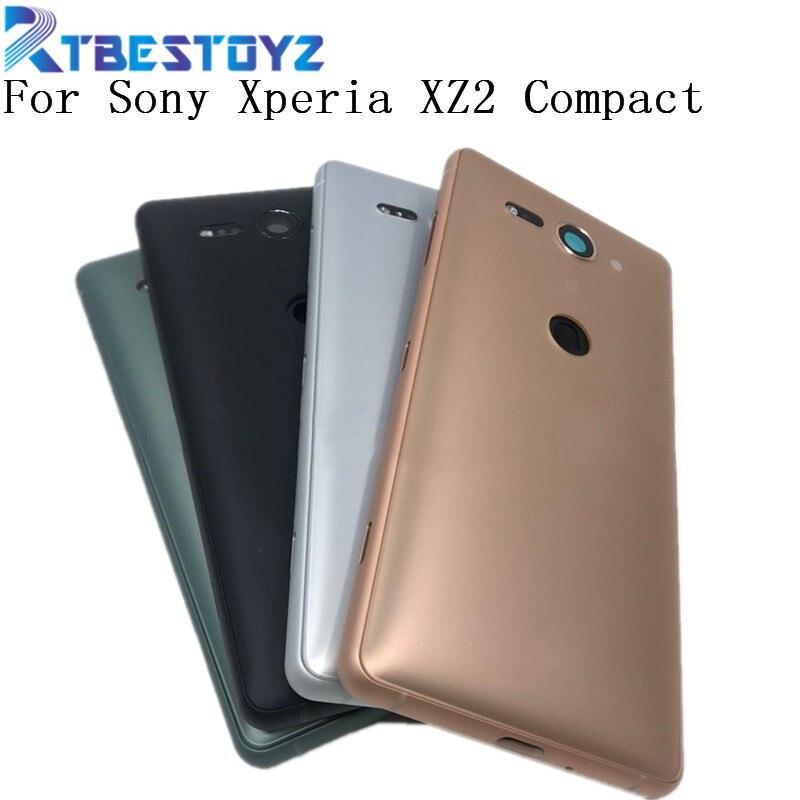 Original pour Sony Xperia XZ2 Compact XZ2 Mini batterie arrière couvercle en verre boîtier de la porte arrière avec objectif de caméra et Logo