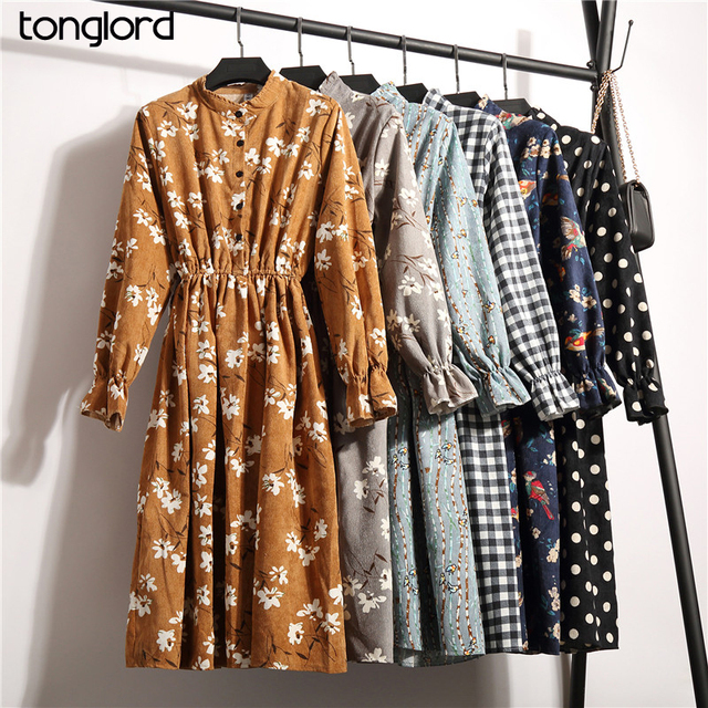 TongLord New Spring Autumn Winter Women Casual Dress Elastic Waist Stand Neck Printed Corduroy Dresses Long Sleeve Dropshipping