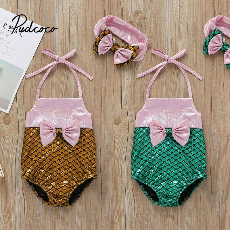 Girls Swimsuit 2019 Summer New Toddlers Infant Baby Kids Swimwear Sleeveless Fine Strap Swimsuit Beachwear 2Pcs Drop Ship