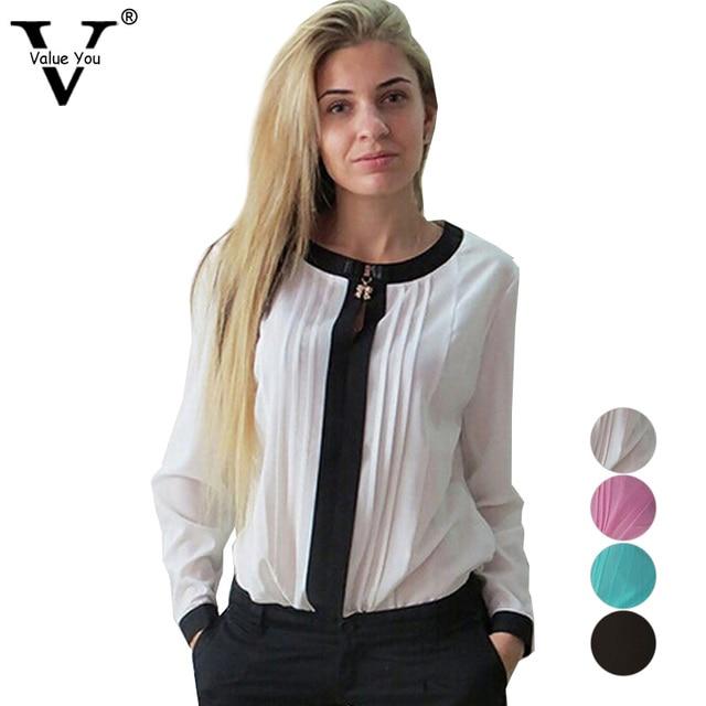 765a08ba6 Moda para mujer blusas blancas elegantes de la gasa del o-cuello camisa  casual damas