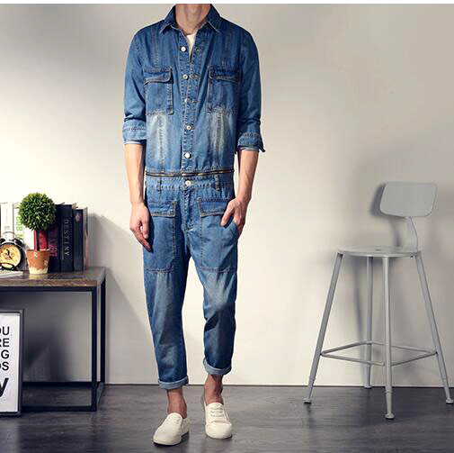 ef1ec77d246 Japan Style Mens Jeans Onesiess Slim Long Sleeve Denim Rompers Jumpsuit One  Piece Bodysuit Jean Overalls