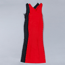 Black Red Deep V Neck Cross Tie Backless Bandage Dress