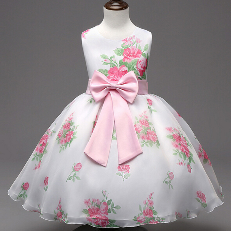 цены Rose Flower Girls Dress 2016 Summer Baby Children Wedding Party Dresses Pink Bow Kids Clothes Princess Tulle TuTu Dress Vestidos