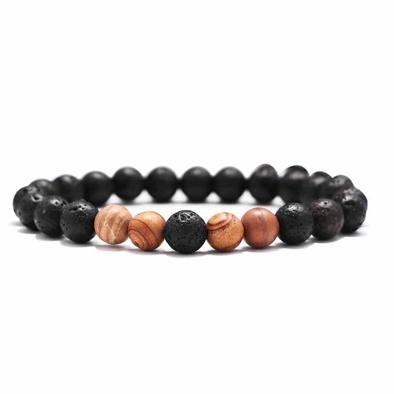 Мужские Браслеты Бусы из лавового Камня Натуральный Камень дерево жемчуг тигровый глаз бренд Модные четки 8 мм браслеты для йоги для женщин ювелирные подарки - Окраска металла: 9