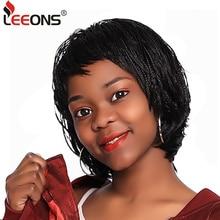 Leeons натуральные черные плетеные парики с челкой летние короткие парики для женщин коробка коса африканский парик термостойкие синтетические волокна