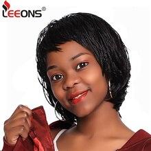 Leeons naturalne czarne plecione peruki z grzywką letnia peruka krótka dla kobiet Box Braid afrykańska peruka żaroodporne włókna syntetyczne