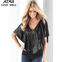 Fashion Women S T Shirts Femme T Shirt Women Sequins Batwing Sleeved Ladies Loose Tee Shirts