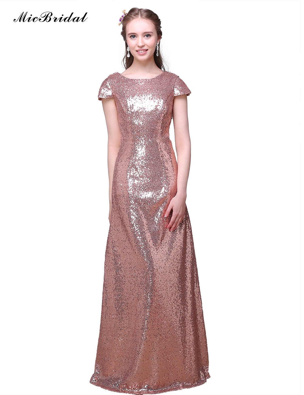 2016 Rose Gold Long Bridesmaid Dresses For Cheap Backless Wedding ...