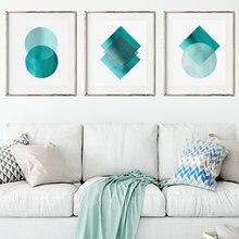 Абстрактный геометрический плакат настенное искусство с аквабитом