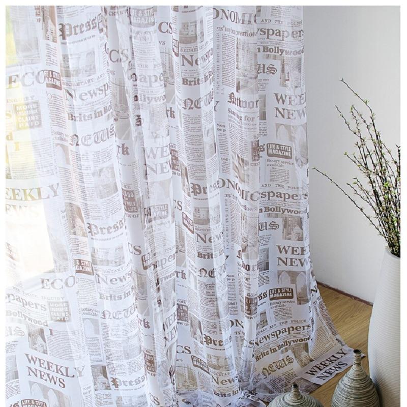 Mode moderne rideaux Anglais journal conception fenêtre sheer rideau ...