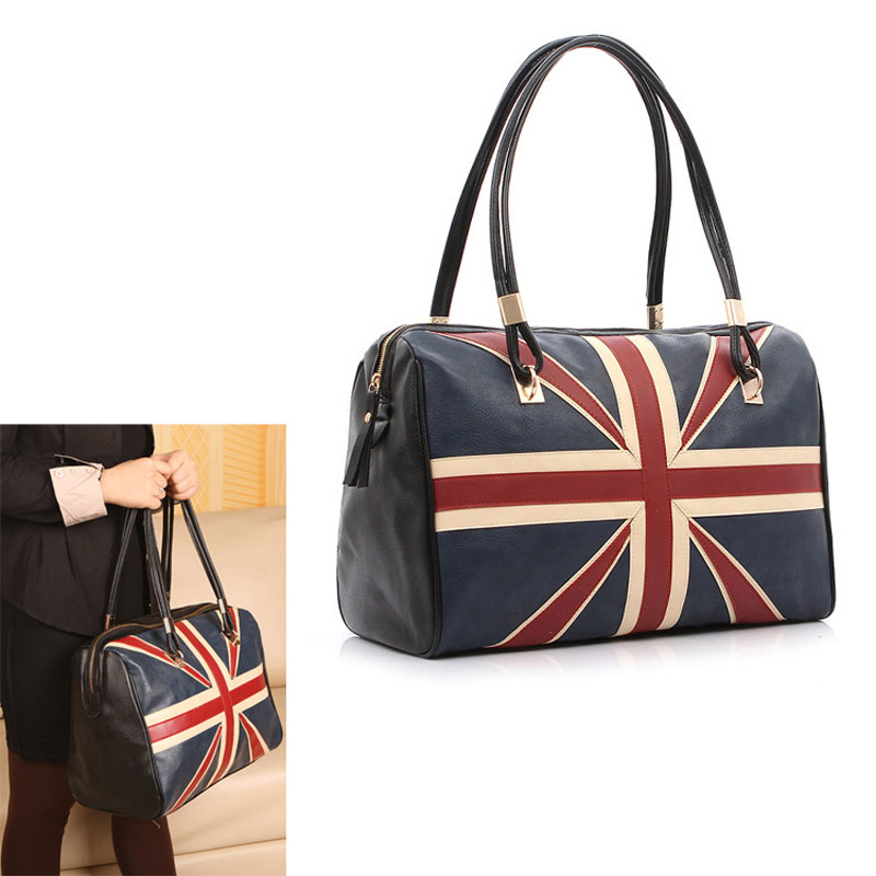 New Fashion Women s British Style Union Jack UK Flag Leather Handbag  Shoulder Big Bag Vintage Bags 95e0106dce