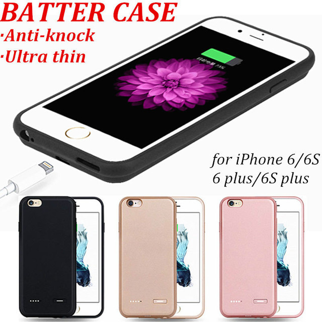 Anti-knock Ultra thin Power Bank Case For Apple iphone 6S plus iphone 6 plus 4.7 5.5 External Charger Case Backup Battery Cover