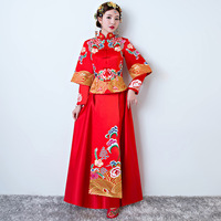Red Embroidery Flowers Bride Long Cheongsam Dress Spring Traditional Wedding Qipao Chinese Style Marry Dresses Vestido Oriental