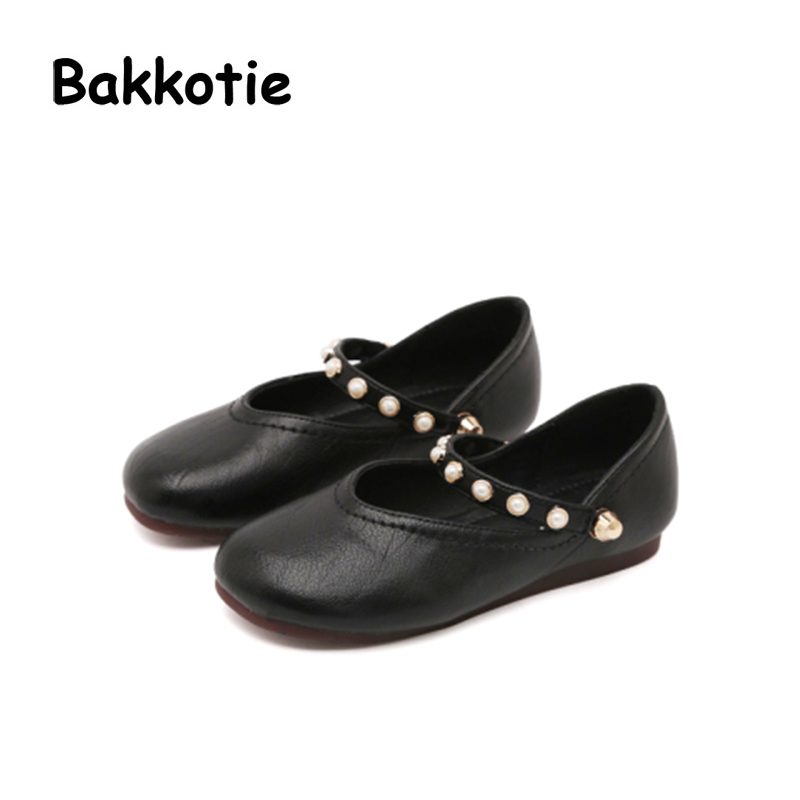Bakkotie 2018 Spring New Baby Girl Soft Fashion Pu Leather Pearl Mary Jane Child Party Princess Shoe kid Pink Brand Flat Toddler