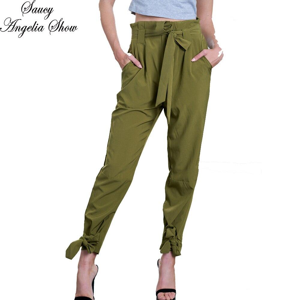 SAUCY ANGELIA Women Long Pants Fashion Chiffon High Waist Army Green Bottom Pants Slimming Waist Pantalon Femme M XXL
