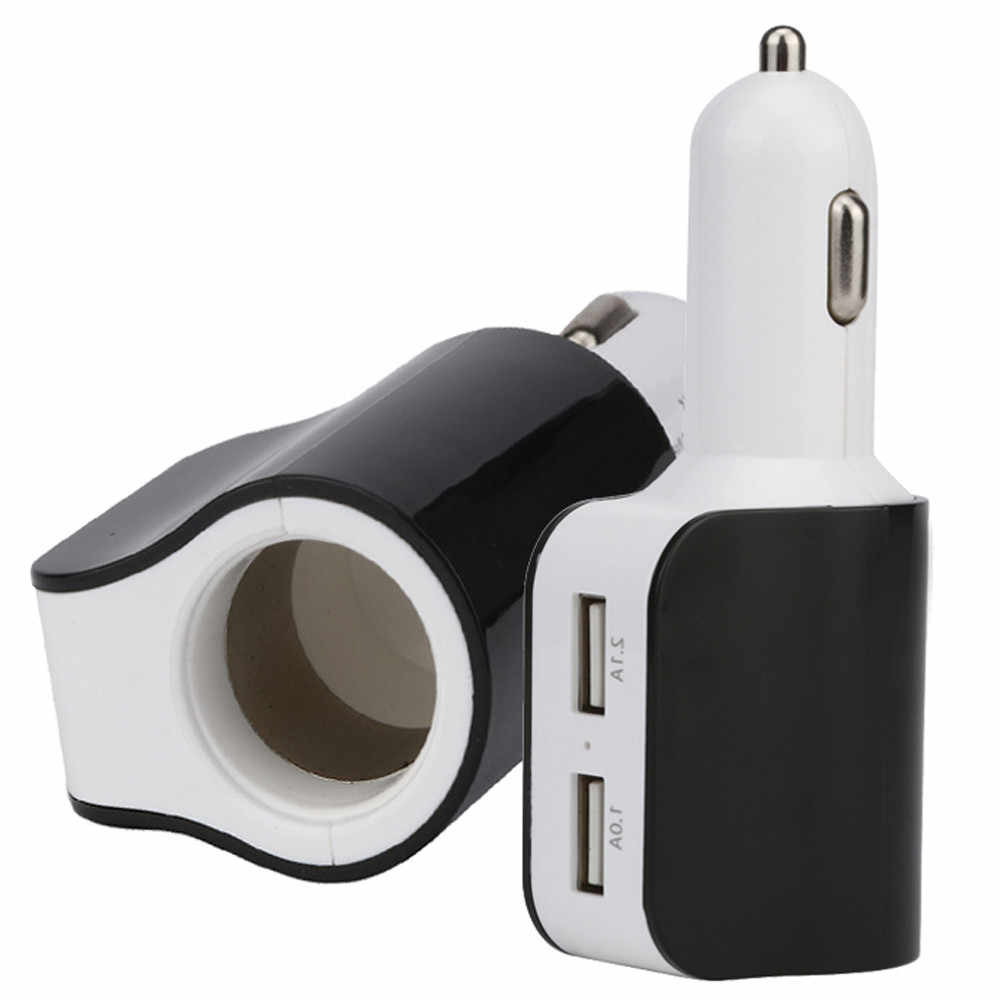 New Arrival 3.1A 2 USB One Way Car Cigarette Lighter Socket Splitter Charger Power Adapter For Samsung galaxy  @018