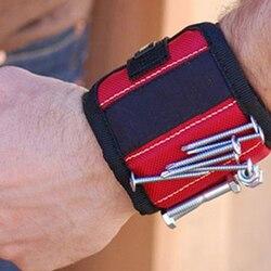 Forte ímã pulseira ferramenta ajustável bandas de pulso para parafusos unhas porcas parafusos mão livre broca titular