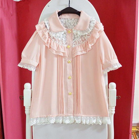 Sort / Pink Kawaii Overalls Sommer Ny Lace Flounces Double Breasted - Dametøj - Foto 5