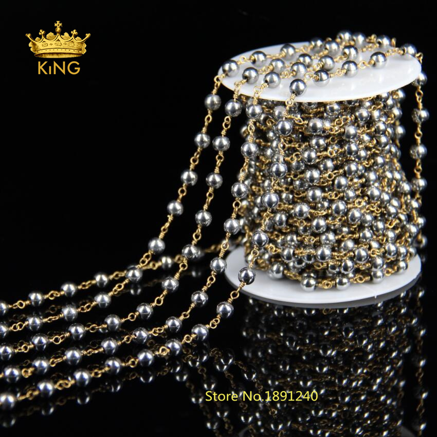 5Meter DIY Antique Bronze Plated Wire Wrapped Beaded Chain Rosary Chain Silver Hematite Beads Size 4mm