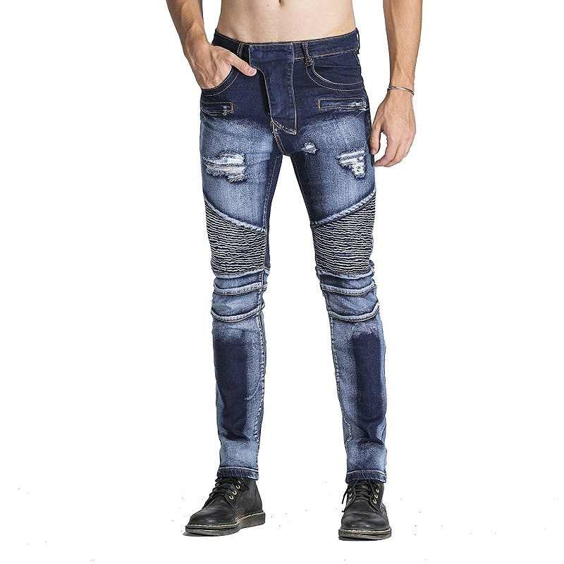 82bd87e75a4 ... New Biker Jeans Men 2018 Autumn Casual Washed Cotton Fold Skinny Ripped  Jeans Hip Hop Elasticity ...