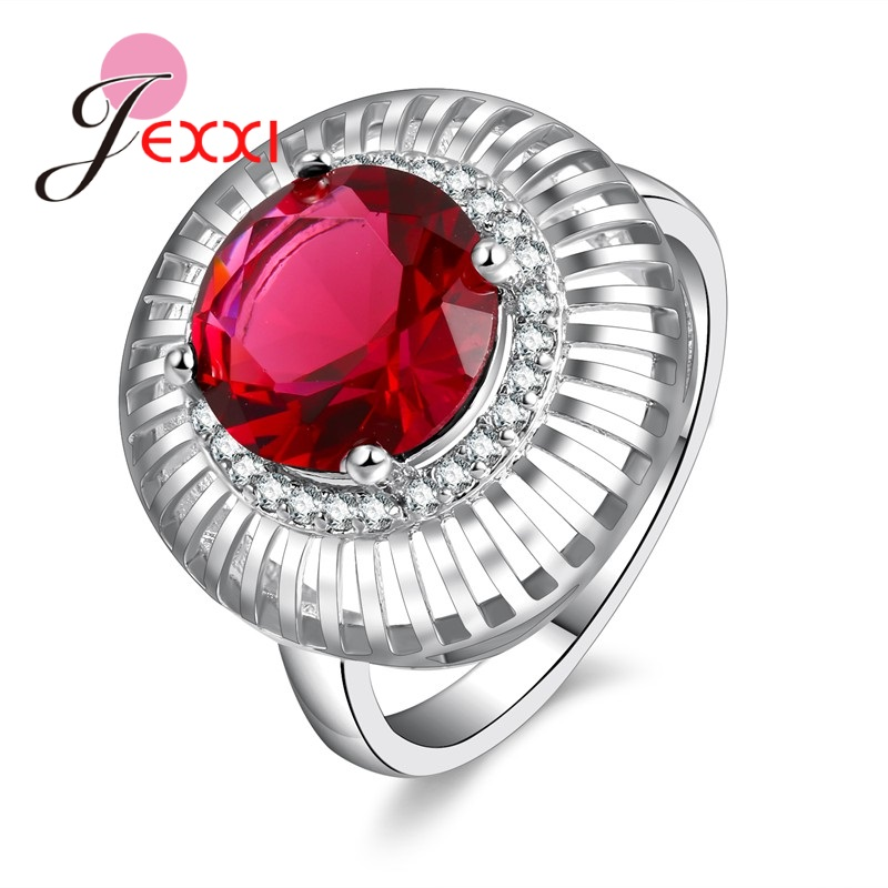 JEXXI Luxury Round Crystal Ring 925 Sterling Silver Multiple Colour Rings for Noble Women Classic Style Jewelry 2017 Hot.