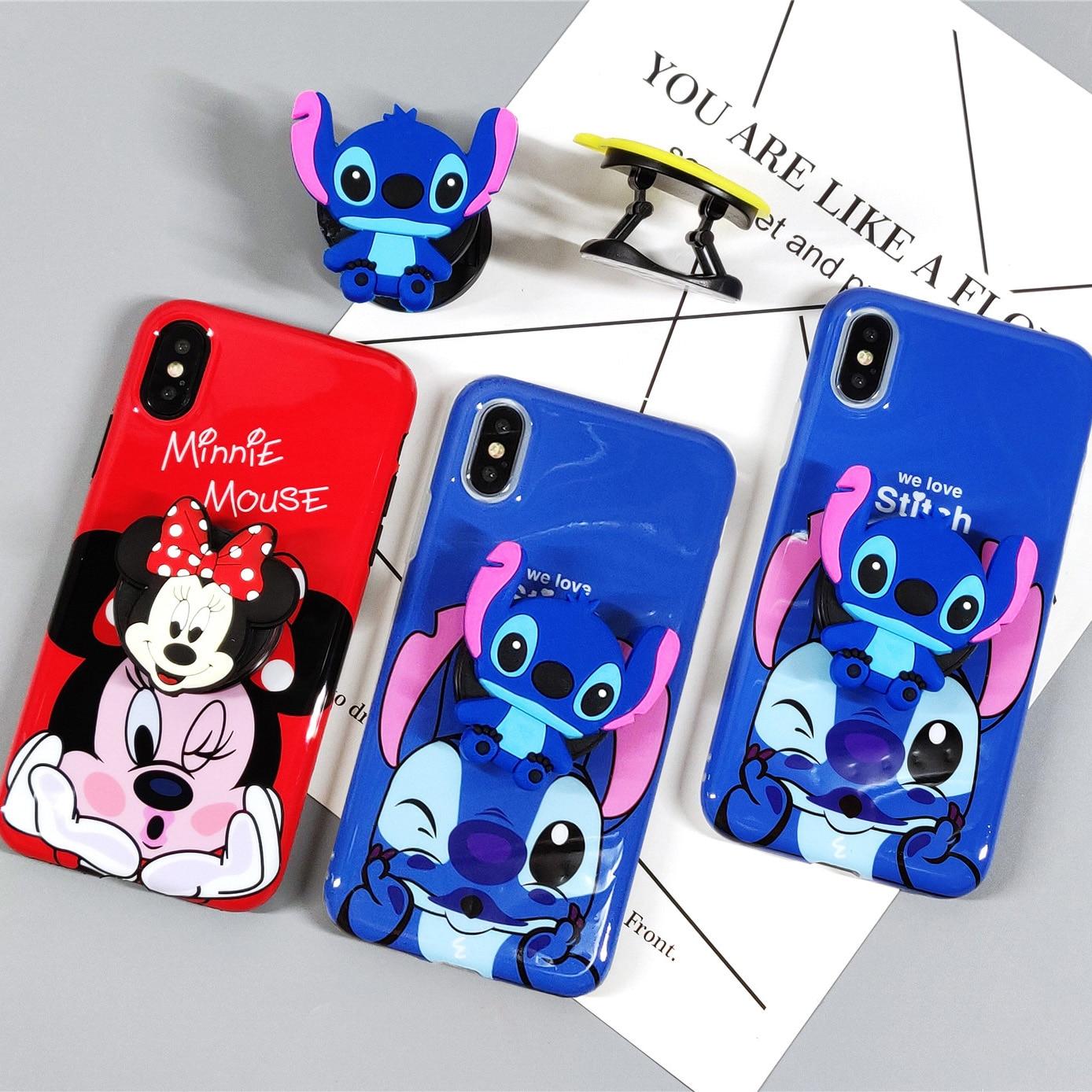 Cute 3D Minnie Stitch Cartoon Case for iphone 7 8 plus 6 6s plus Case 3D Grip Stand Phone Holder Case for iphone XS Max XR XS X
