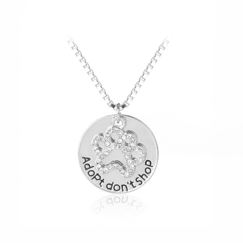 Adopt don t shop Round Pet Paw Prints Rhinestone Necklaces Cute Animal Dog cat Memorial