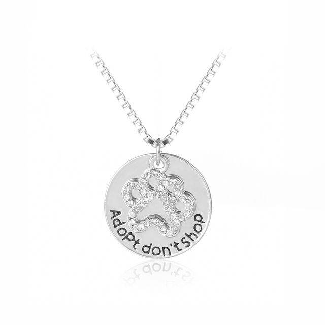 """""""Adopt don't shop"""" Round Pet Paw Prints Rhinestone Necklaces Cute Animal Dog cat Memorial jewelry Pet Lover Puppy Paw Necklace"""