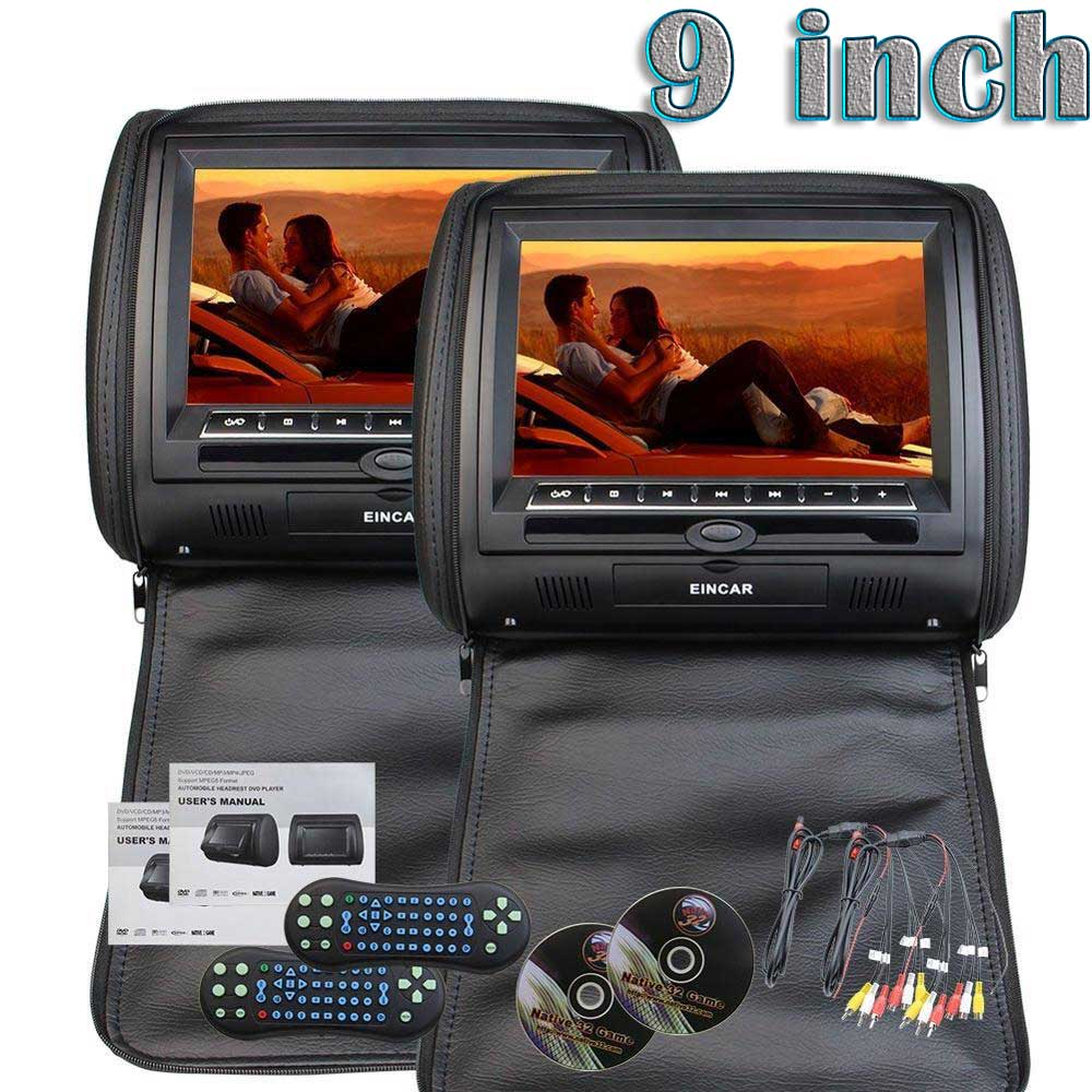 9 Inch HD Double Twin Car Monitor Screens a pair of Car Headrest Pillows Region free Dual DVD Players IR FM for back sit seat